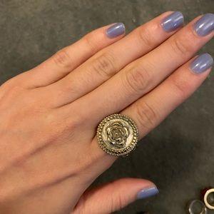 Authentic Chanel Logo Medallion Ring